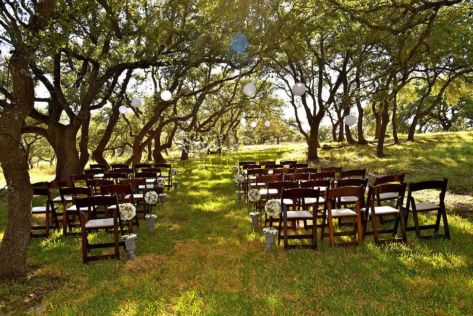 Ceremony set up in the beautiful trees